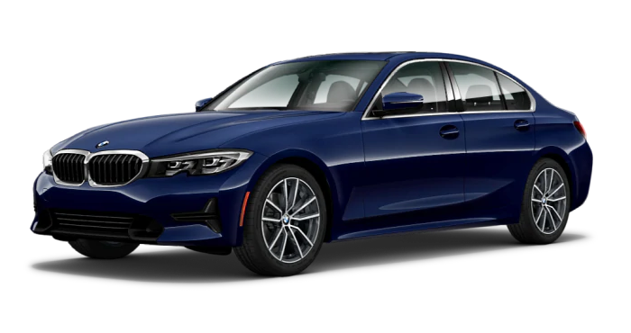 BMW 3 series sedan in blue color
