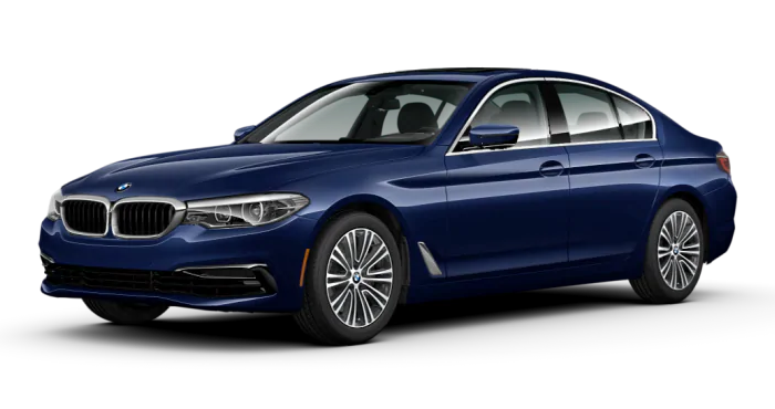 BMW 5 series sedan in blue color